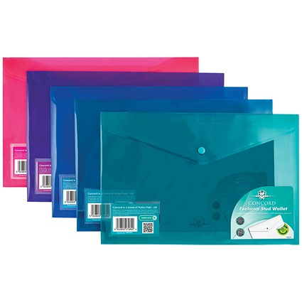 Concord Foolscap Stud Wallet Files / Vibrant / Assorted / Pack of 5