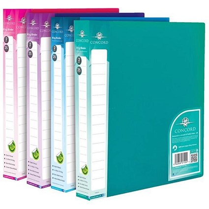 Concord Vibrant Ring Binder / A4 / 25mm Capacity / Assorted / Pack of 10