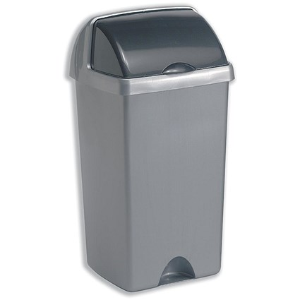Addis Roll Top Bin / 48 Litres / Metallic Silver