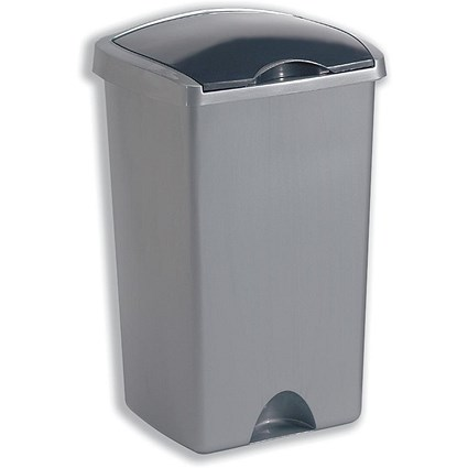 Addis Bin with Lift-up Lid / 50 Litres / Metallic Silver