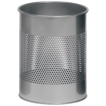 Durable Round Bin / Metal / 165mm Perforated / 15 Litres / Metallic Silver