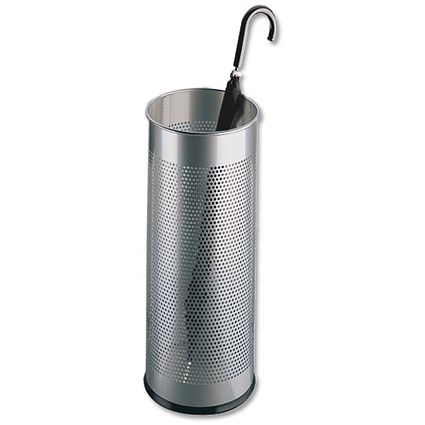 Durable Tubular Umbrella Stand / Metal / Perforated / 28.5 Litres / Silver