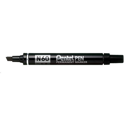 Pentel N60 Permanent Marker, Chisel Tip, Black, Pack of 12