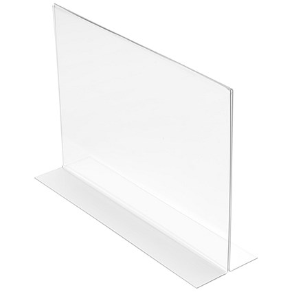 Stand Up Sign Holder / Double-Sided / Landscape / A4 / Clear