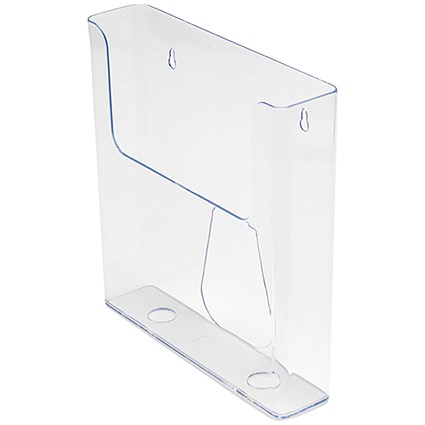 Flatback Wall-Mounted Literature Holder / Single Pocket / Portrait / A4 / Clear