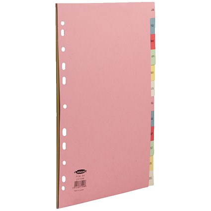 Concord Index Dividers, Jan-Dec, A4, Assorted