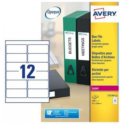 Avery Laser and Inkjet Filing Labels for 60mm Box Files / 12 per Sheet / 41x100mm / L7176-25 / 300 Labels