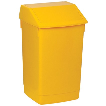 Flip Top Bin, 60 Litres, Yellow
