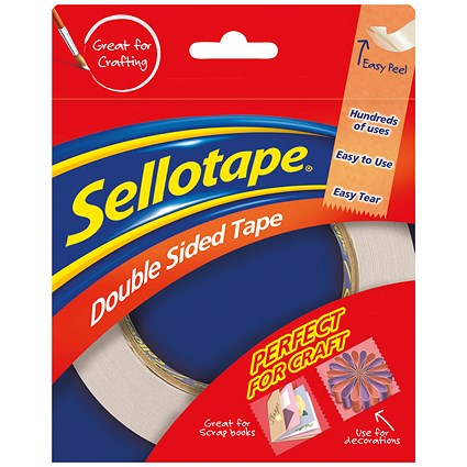 Sellotape Double-sided Tape / 12mm x 33m / Pack of 12