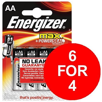 Energizer Max AA/E91 Batteries - 2 Free Batteries