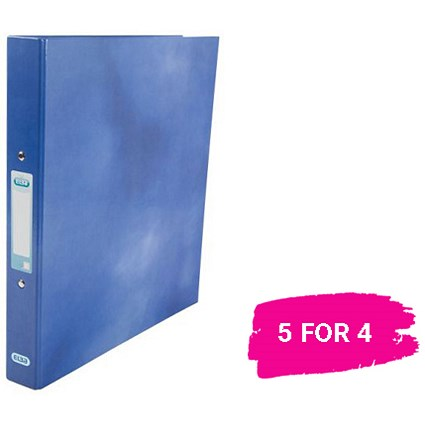 Elba Ring Binder / Laminated Gloss Finish / 2 O-Ring / 25mm Capacity / A4 / Blue / 5 for the Price of 4