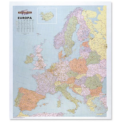 Map Marketing Europa Political Map Unframed 63 Miles to 1 inch Scale 109x93cm