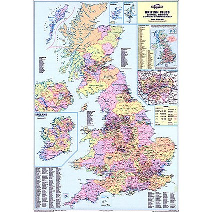 Map Marketing Counties Districts Unitary Authorities Map Unframed 12.5 Miles/1 inch W830xH1200mm