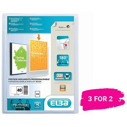 Elba Polyvision Display Book / 40 Clear Pockets / Clear / A4 / Buy 2 get 1 free