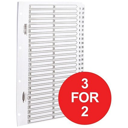 Concord Classic Index Dividers / 1-50 / Mylar Tabs / A4 / White / 3 packs for the price of 2