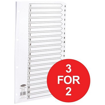 Concord Classic Index Dividers / A-Z / Mylar Tabs / A4 / White / 3 packs for the price of 2