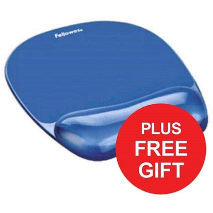Fellowes Crystal Mouse Mat Pad with Wrist Rest / Gel / Blue / FREE Keyboard Rest