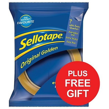 Sellotape Original Golden Tape Rolls - Large / Easy-tear / 24mmx66m / Pack of 12 / FREE Dispenser