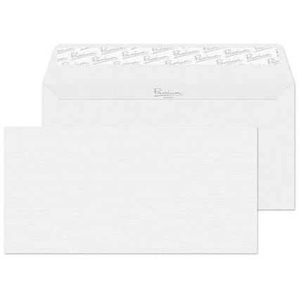 Blake Premium DL Wallet Envelopes / Laid / Diamond White / Peel & Seal / 120gsm / Pack of 500 / 3 packs for the price of 2