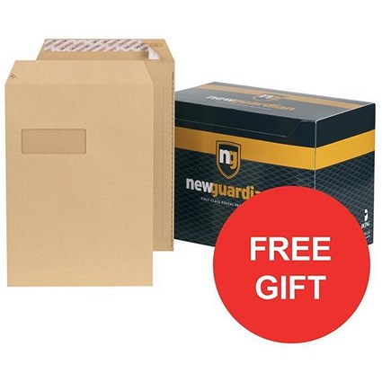 New Guardian Heavyweight C4 Pocket Envelopes with Window / Manilla / Peel & Seal / Pack of 250 / FREE Hand Wash Set