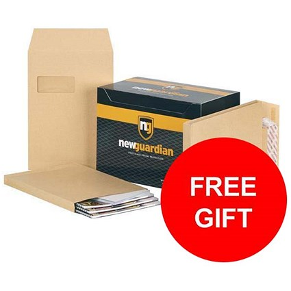 New Guardian C4 Gusset Envelopes with Window / 25mm Gusset / Peel & Seal / Manilla / Pack of 100 / FREE Hand Wash Set