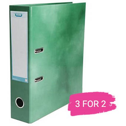 Elba A4 Lever Arch File, 70mm Spine, Green, Buy 2 files Get 1 Free