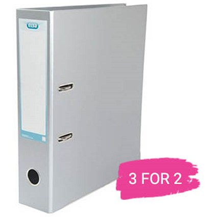 Elba A4 Lever Arch File, 70mm Spine, Metallic Silver, Buy 2 files Get 1 Free