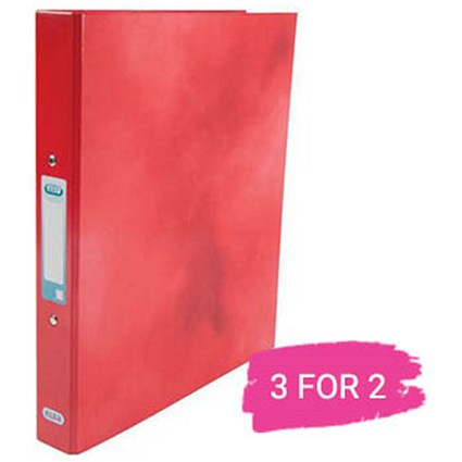 Elba A4 Ring Binder, 2 O-Ring, 25mm Capacity, Metallic Red, Buy 2 Get 1 Free