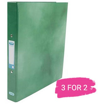 Elba A4 Ring Binder, 2 O-Ring, 25mm Capacity, Metallic Green, Buy 2 Get 1 Free