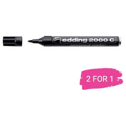 Edding 2000C Permanent Marker, Bullet Tip, Black, Pack of 10, Buy 1 Pack Get 1 Free