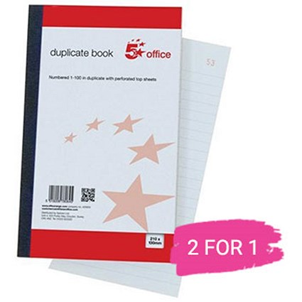 5 Star Duplicate Book, Ruled, Indexed & Perforated, 100 Sets, 210x130mm, Buy 1 Pack Get 1 Free