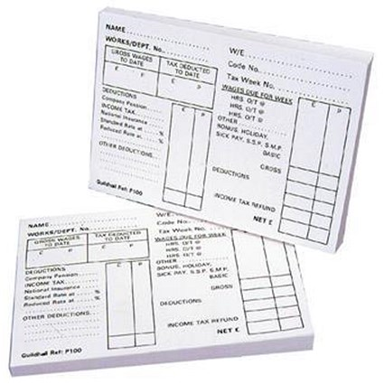 Guildhall PAYE Wages Slips Pad P100Z / 100 Leaf / Pack of 5