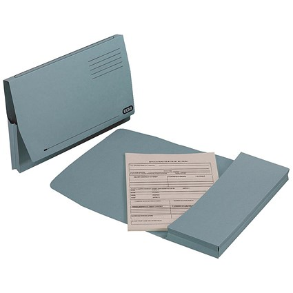 Elba Document Wallets Full Flap / 285gsm / Foolscap / Blue / Pack of 50