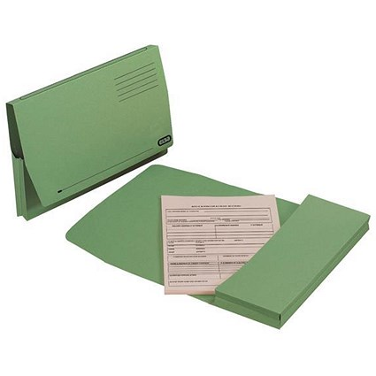 Elba Document Wallets Full Flap / 285gsm / Foolscap / Green / Pack of 50