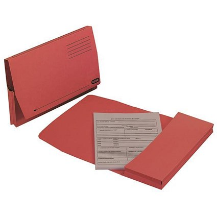 Elba Document Wallets Full Flap / 285gsm / Foolscap / Red / Pack of 50