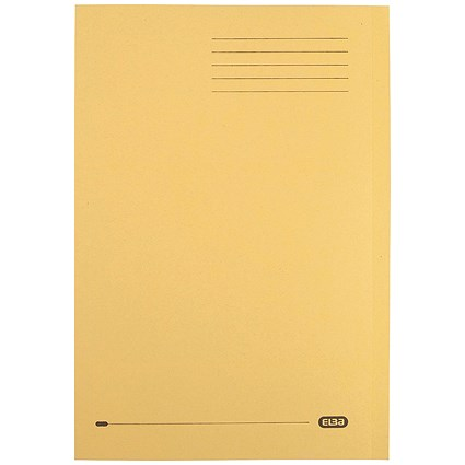 Elba Square Cut Folders, 290gsm, Foolscap, Yellow, Pack of 100