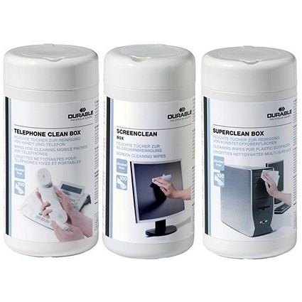 Durable Superclean Workstation Cleaning Wipes for Screens & Phones / 100 Wipes / Triple Pack