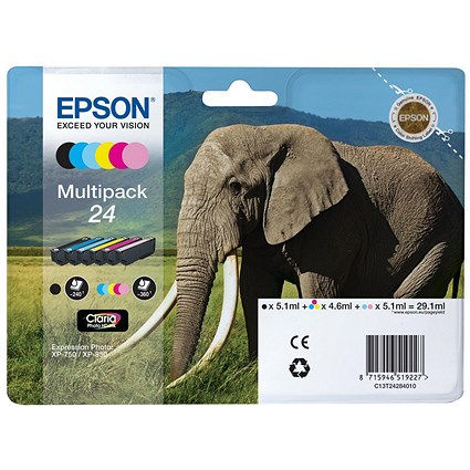 Epson 24 Inkjet Cartridge Multipack - Black, Cyan, Magenta, Yellow, Light Cyan and Light Magenta (6 Cartridges)
