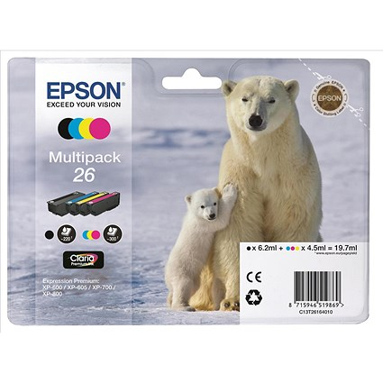 Epson 26 Inkjet Cartridge Multipack - Black, Cyan, Magenta and Yellow (4 Cartridges)