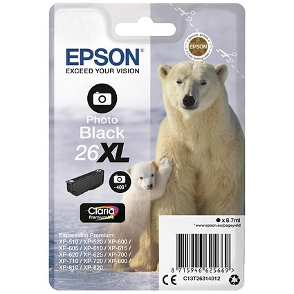 Epson 26XL High Yield Photo Black Inkjet Cartridge