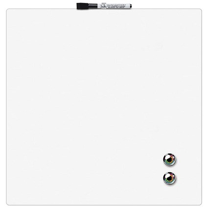 Rexel Square Tile Magnetic Drywipe Board, 360x360mm, White