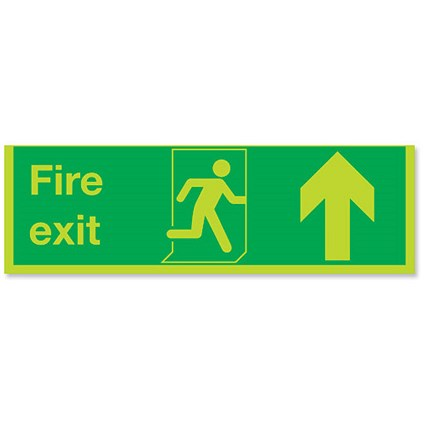 Stewart Superior Fire Exit Sign Man and Arrow Straight Up W600xH200 Self-adhesive Vinyl