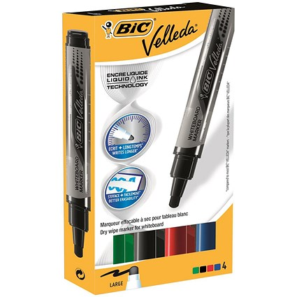 Bic Velleda Whiteboard Marker, Liquid Ink, Large, Assorted Colours, Pack of 4