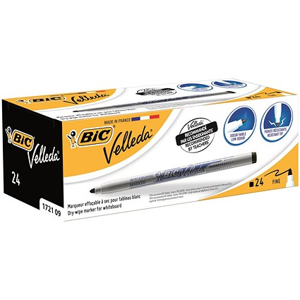 Bic Velleda 1721 Drywipe Marker, Black, Pack of 24