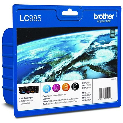 Brother LC985VALBP Inkjet Cartridge Value Pack - Black, Cyan, Magenta and Yellow (4 Cartridges)