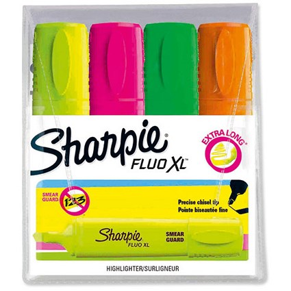 Sharpie Fluo XL Highlighter / Assorted Colours / Pack of 4