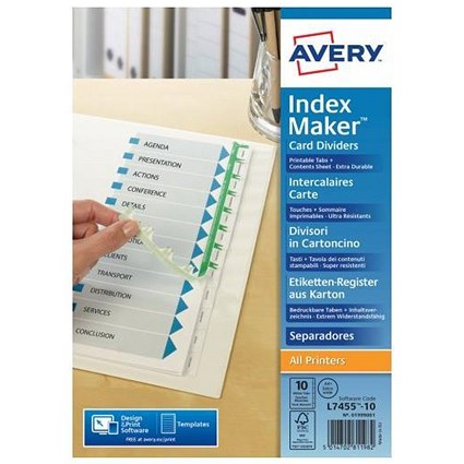 Avery Indexmaker Dividers / Extra Wide / 10 Part / White