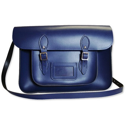 Remarkable Recycled Leather Satchel 15inch Blue
