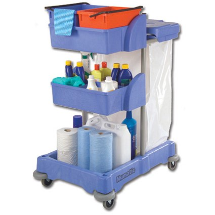 Numatic Xtra Compact XC3 Cleaning Trolley with 2 Buckets & 2 Tray Units