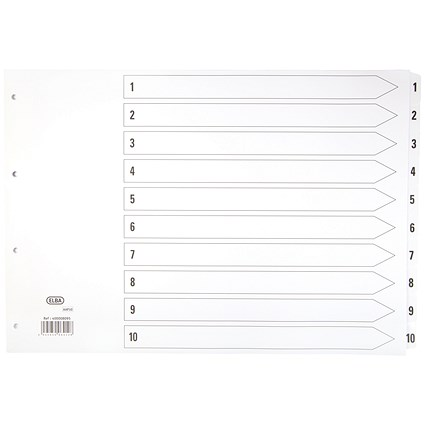 Elba Subject Dividers / Landscape / 1-10 / Clear Tabs / A3 / White